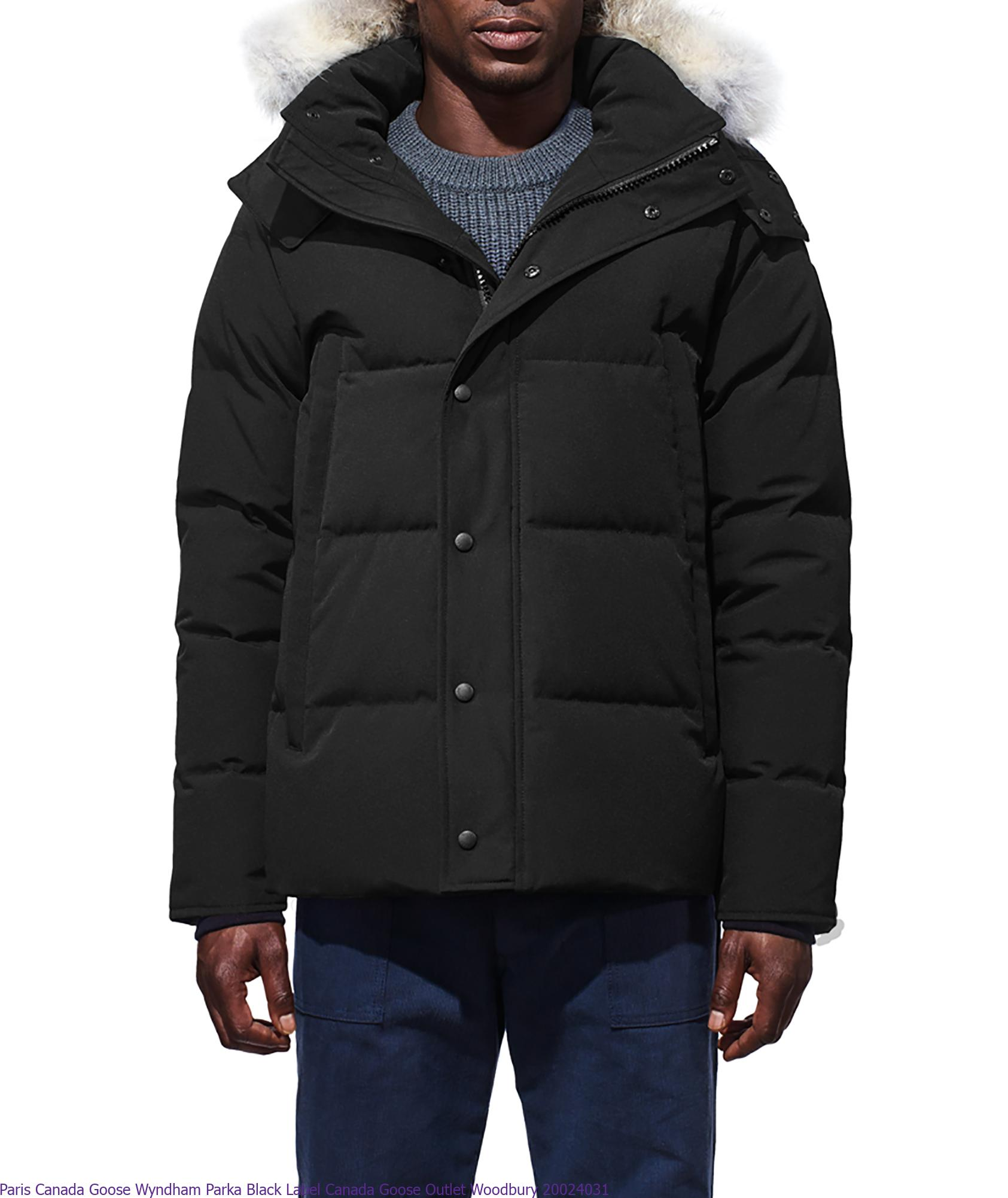 brand new ad0e5 05fc7 Paris Canada Goose Wyndham Parka Black Label Canada Goose Outlet Woodbury  20024031